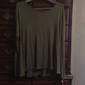 Olive green tunic shark hem sides